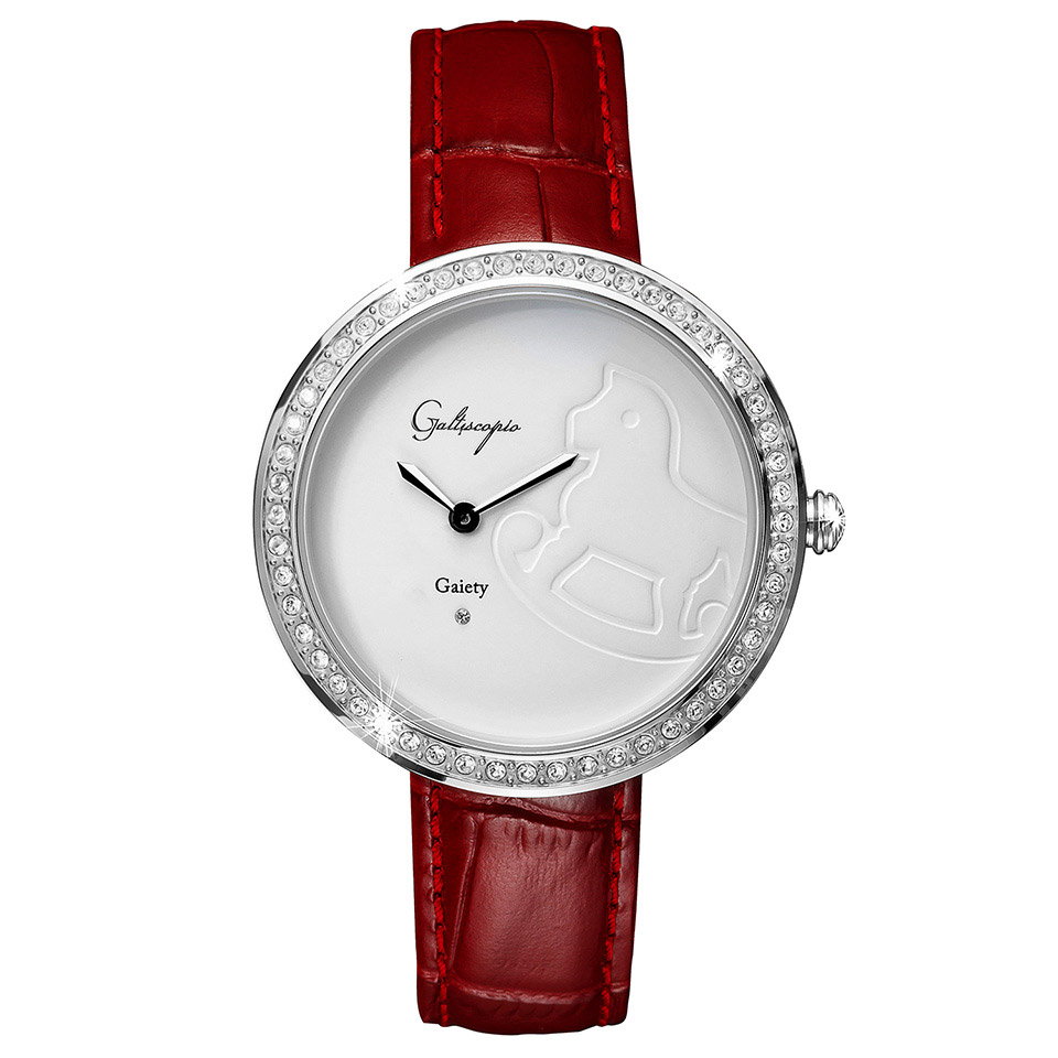 Galtiscopio(ガルティスコピオ) GAIETY GE2 木馬 バーガンディ/ホワイト シンプルエレガントなキラキラ時計 スワロフスキー レディース腕時計