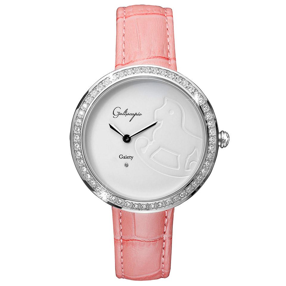 Galtiscopio(ガルティスコピオ) GAIETY GE3 木馬 ピンク/ホワイト シンプルエレガントなキラキラ時計 スワロフスキー レディース腕時計