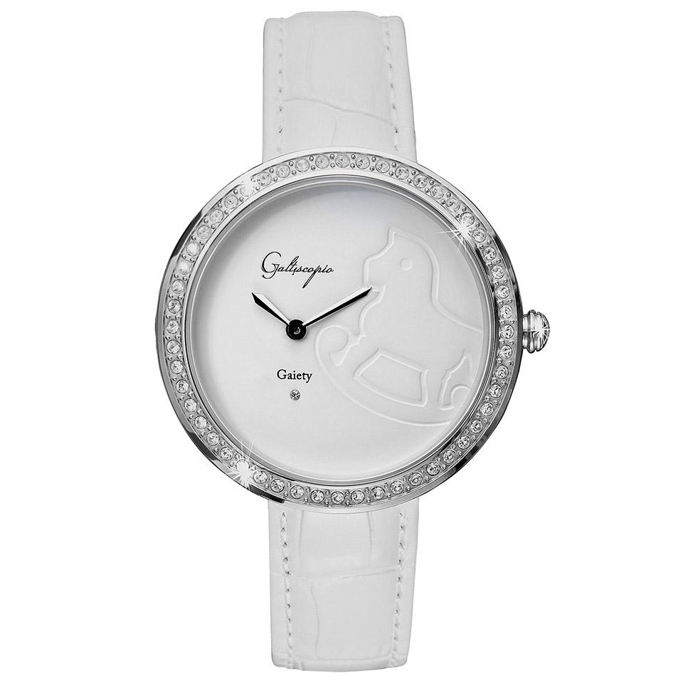 Galtiscopio(ガルティスコピオ) GAIETY GE4 木馬 ホワイト/ホワイト シンプルエレガントなキラキラ時計 スワロフスキー レディース腕時計