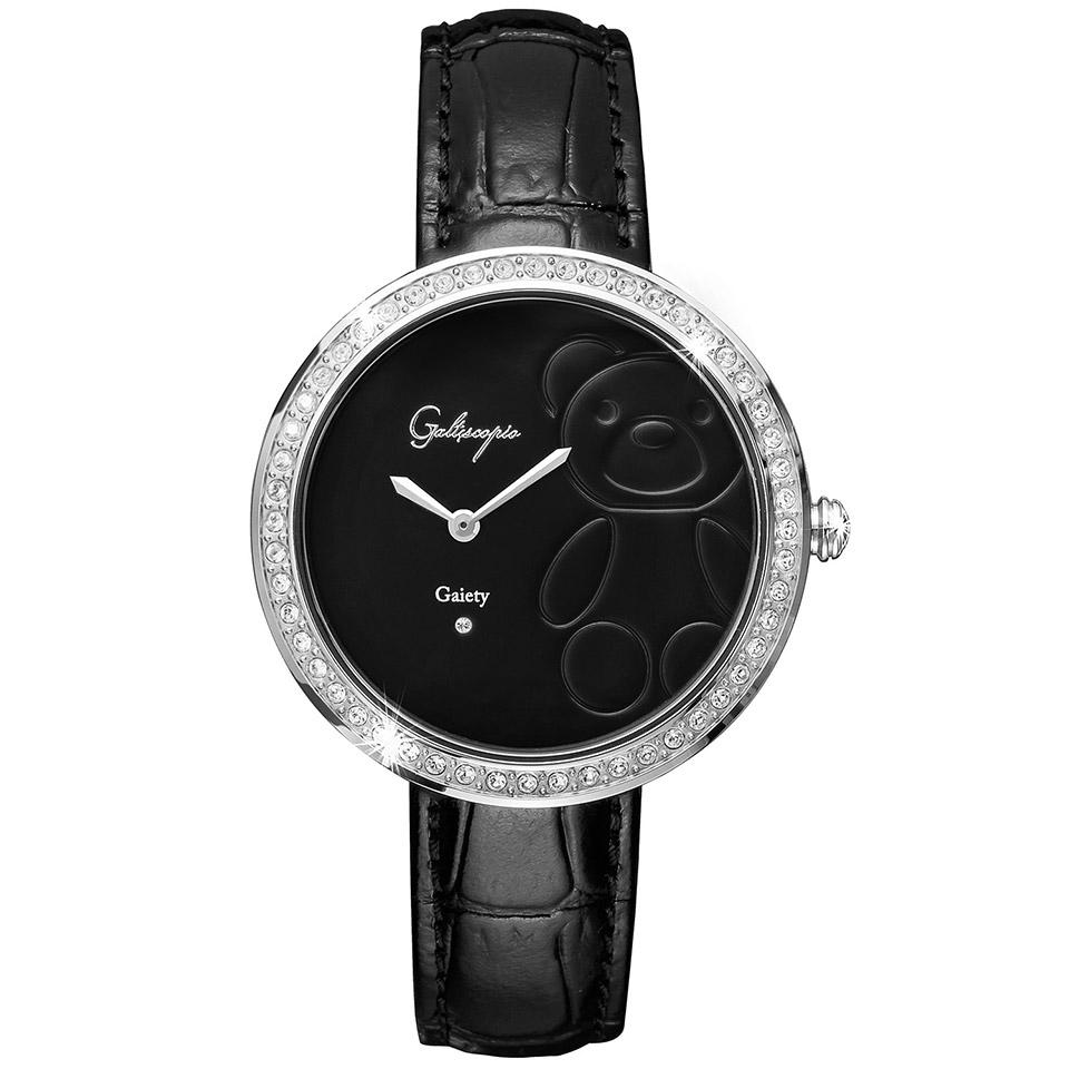 Galtiscopio(ガルティスコピオ) GAIETY GE5 テディベア ブラック/ブラック シンプルエレガントなキラキラ時計 スワロフスキー レディース腕時計