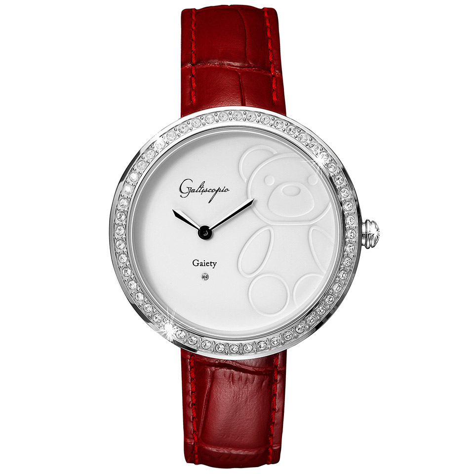 Galtiscopio(ガルティスコピオ) GAIETY GE6 テディベア バーガンディ/ホワイト シンプルエレガントなキラキラ時計 スワロフスキー レディース腕時計