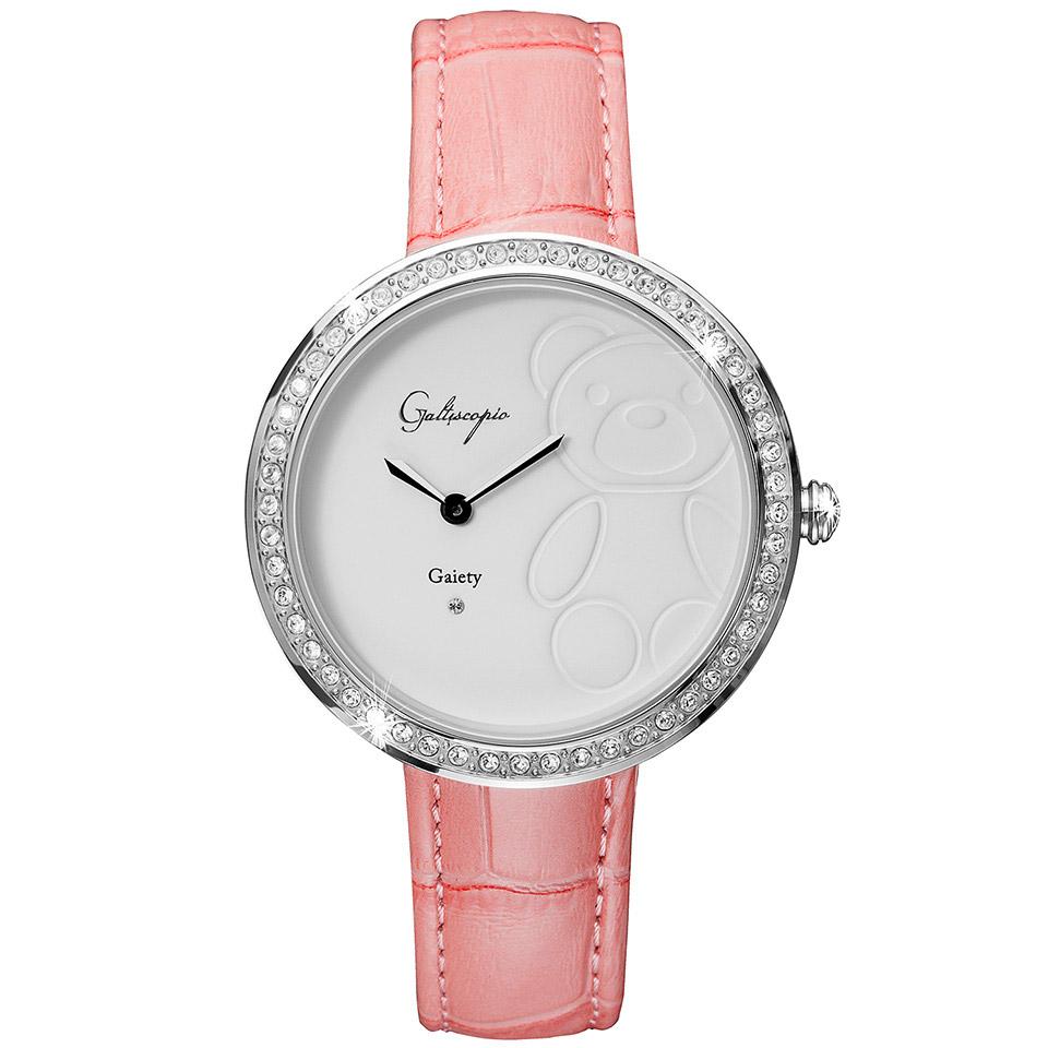 Galtiscopio(ガルティスコピオ) GAIETY GE7 テディベア ピンク/ホワイト シンプルエレガントなキラキラ時計 スワロフスキー レディース腕時計