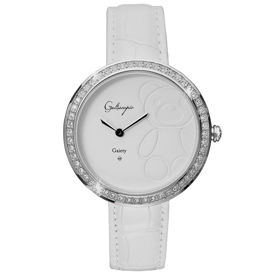 Galtiscopio(ガルティスコピオ) GAIETY GE8 テディベア ホワイト/ホワイト シンプルエレガントなキラキラ時計 スワロフスキー レディース腕時計