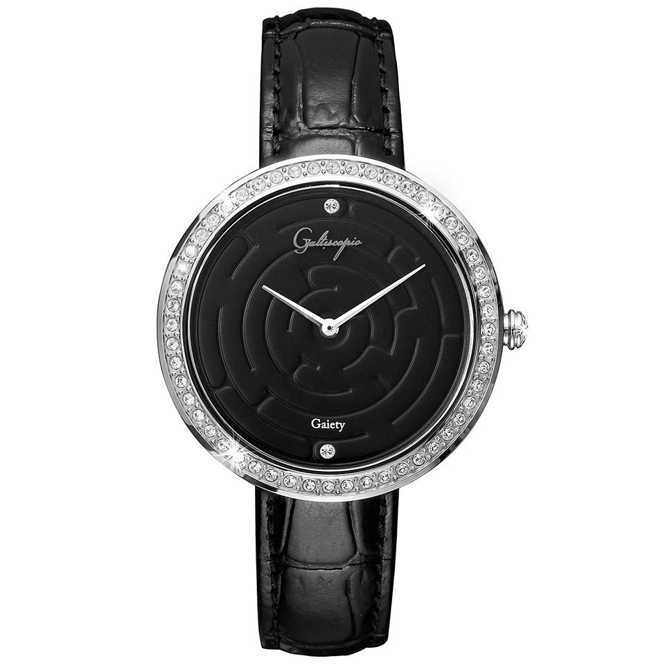 Galtiscopio(ガルティスコピオ) GAIETY GE9 迷路 ブラック/ブラック シンプルエレガントなキラキラ時計 スワロフスキー レディース腕時計
