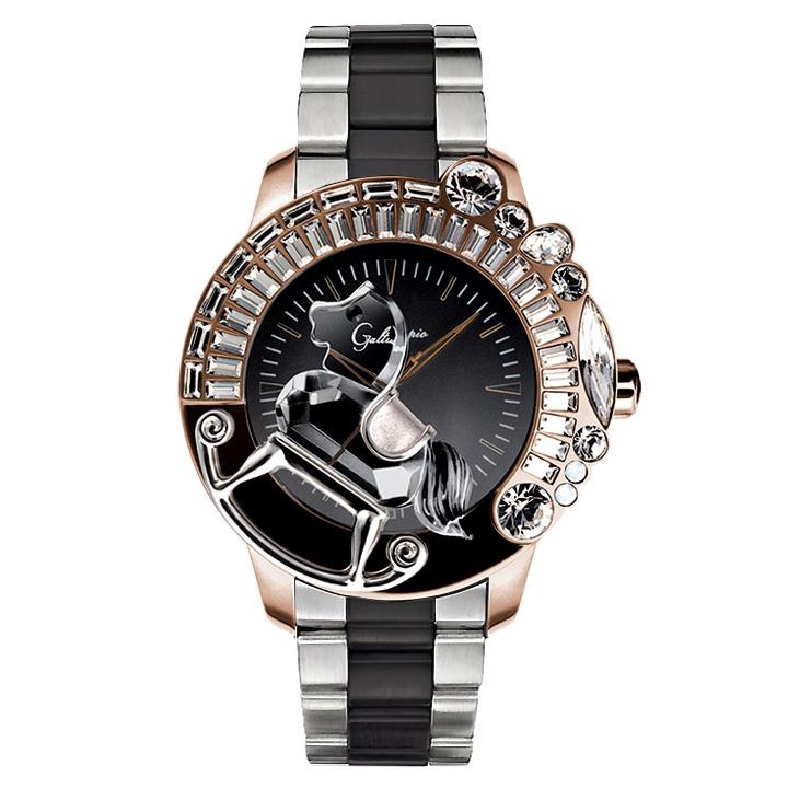 スワロフスキーのキラキラ腕時計 Galtiscopio(ガルティスコピオ) LA GIOSTRA 1 馬30 ローズゴールド/ブラック/シルバー・ブラック SSブレスレット メタルブレス メンズ腕時計