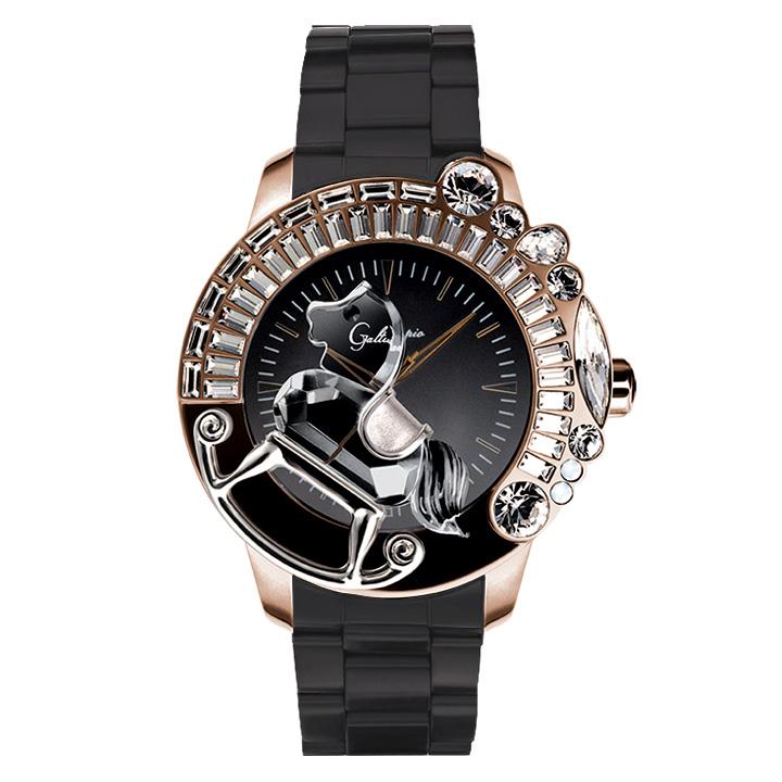 スワロフスキーのキラキラ腕時計 Galtiscopio(ガルティスコピオ) LA GIOSTRA 1 馬30 ローズゴールド/ブラック/ブラック SSブレスレット メタルブレス メンズ腕時計