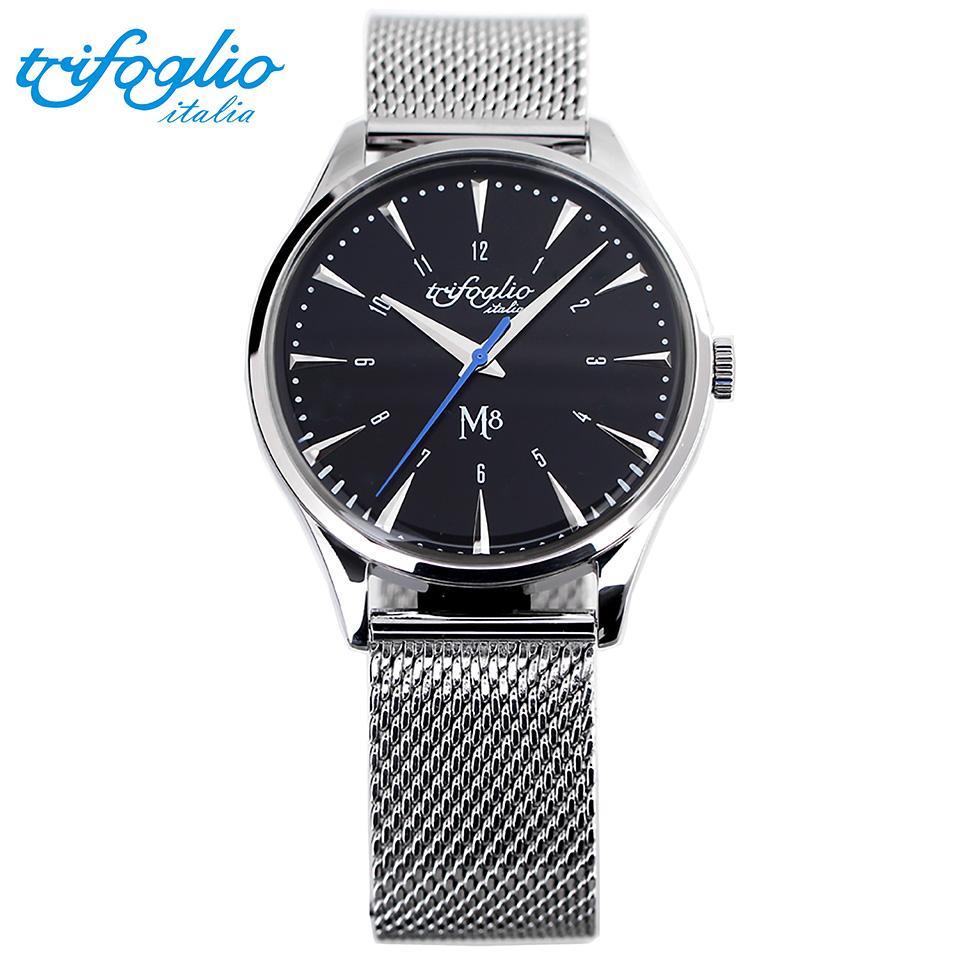 トリフォグリオ M8 (Trifoglio Italia) スイープセコンド 黒文字盤 ミラネーゼブレスレット ステンレスメッシュベルト メンズ腕時計 イタリア時計 セイコーVH-31ムーブメント