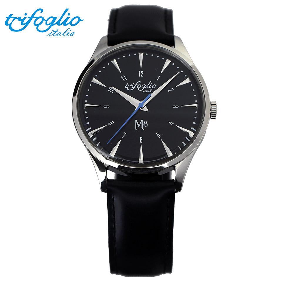 トリフォグリオ M8 (Trifoglio Italia) スイープセコンド 黒文字盤 黒レザーベルト メンズ腕時計 イタリア時計 セイコーVH-31ムーブメント エムエイト