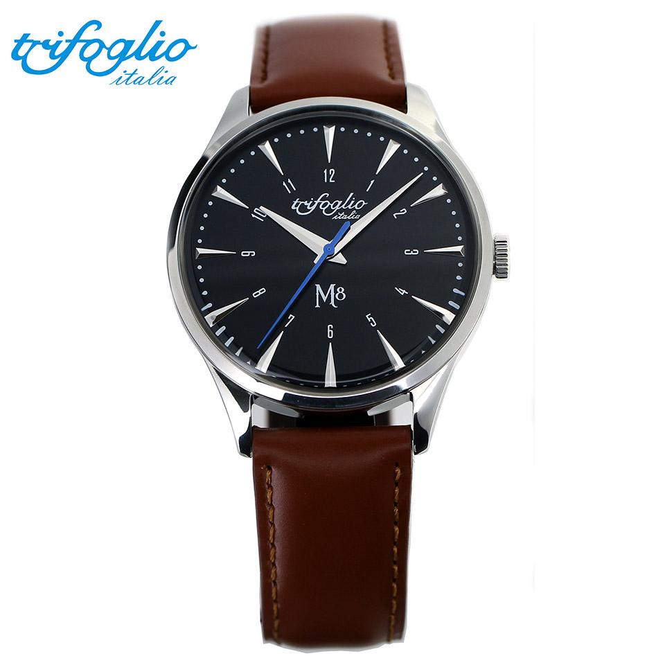 トリフォグリオ M8 (Trifoglio Italia) スイープセコンド 黒文字盤 ブラウンレザーベルト メンズ腕時計 イタリア時計 セイコーVH-31ムーブメント エムエイト