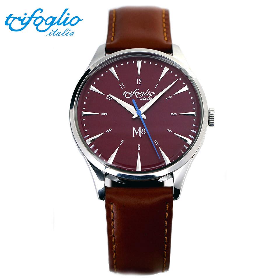 トリフォグリオ M8 (Trifoglio Italia) スイープセコンド レッド文字盤 ブラウンレザーベルト メンズ腕時計 イタリア時計 セイコーVH-31ムーブメント エムエイト