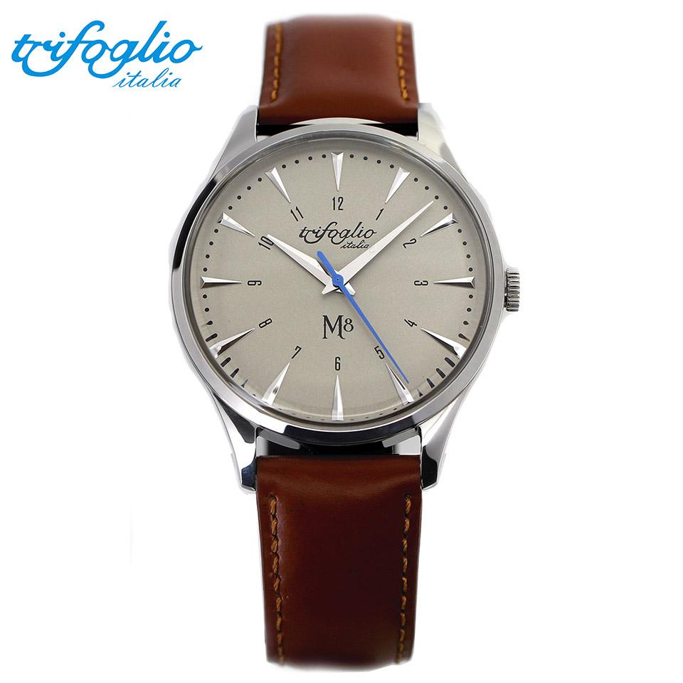トリフォグリオ M8 (Trifoglio Italia) スイープセコンド ヴィンテージホワイト文字盤 ブラウンレザーベルト メンズ腕時計 イタリア時計 セイコーVH-31ムーブメント エムエイト