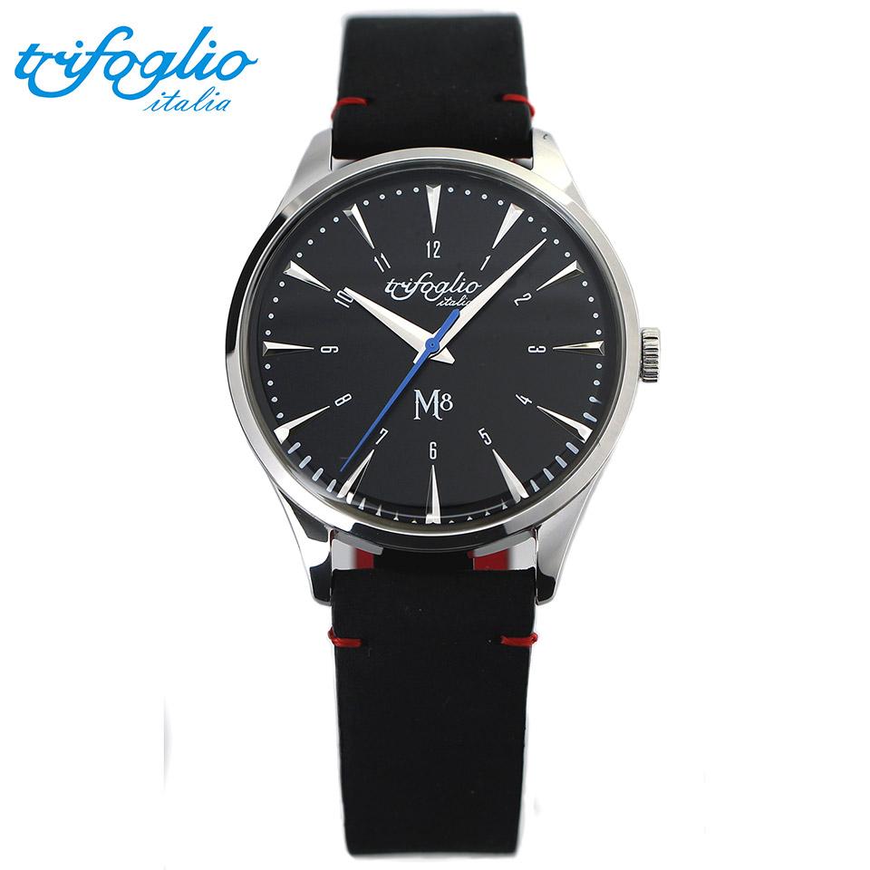 トリフォグリオ M8 (Trifoglio Italia) スイープセコンド 黒文字盤 黒ヌバックレザーベルト メンズ腕時計 イタリア時計 セイコーVH-31ムーブメント エムエイト