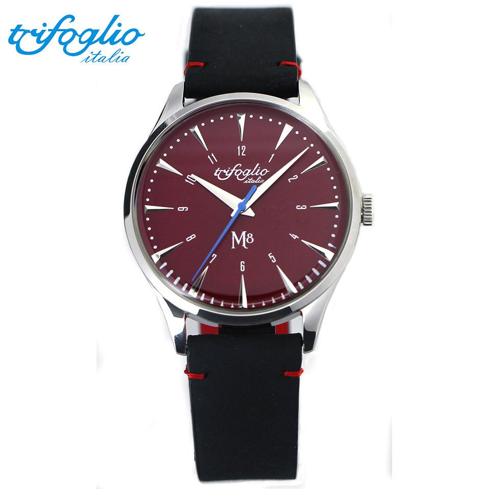 トリフォグリオ M8 (Trifoglio Italia) スイープセコンド レッド文字盤 黒ヌバックレザーベルト メンズ腕時計 イタリア時計 セイコーVH-31ムーブメント エムエイト