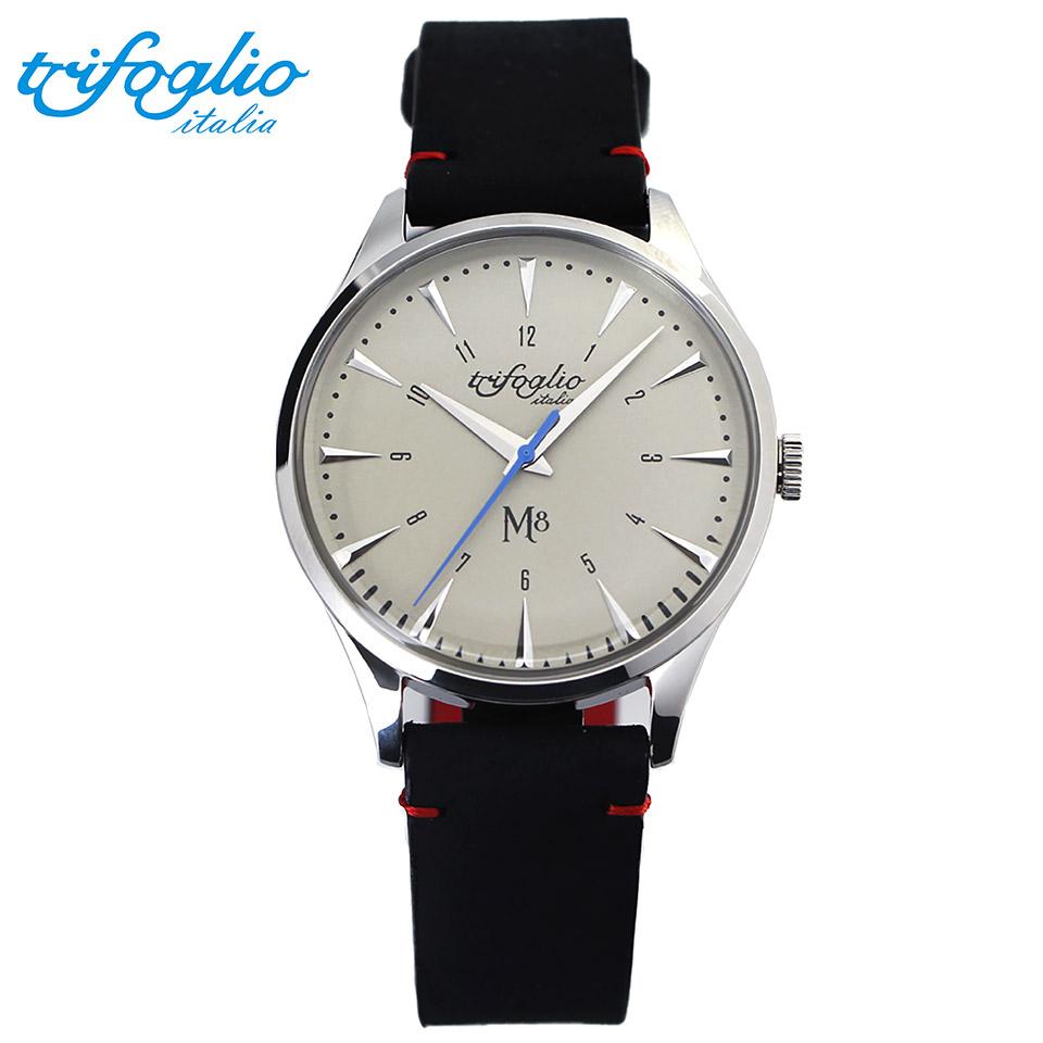 トリフォグリオ M8 (Trifoglio Italia) スイープセコンド ヴィンテージホワイト文字盤 黒ヌバックレザーベルト メンズ腕時計 イタリア時計 セイコーVH-31ムーブメント エムエイト