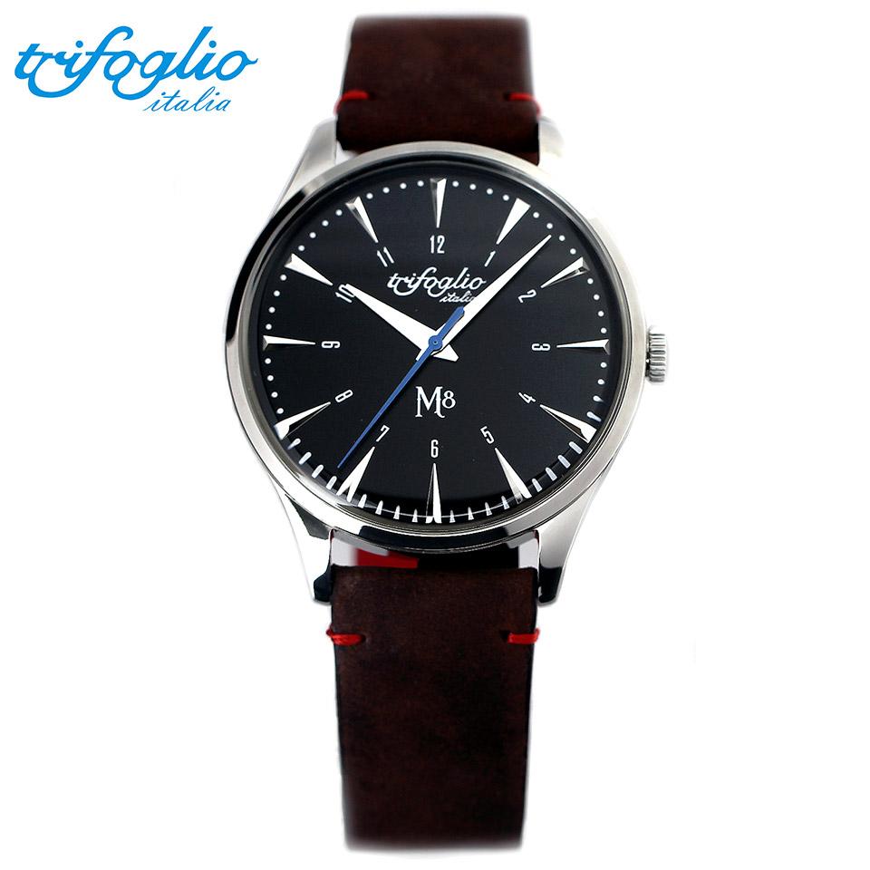 トリフォグリオ M8 (Trifoglio Italia) スイープセコンド 黒文字盤 ブラウンヌバックレザーベルト メンズ腕時計 イタリア時計 セイコーVH-31ムーブメント エムエイト