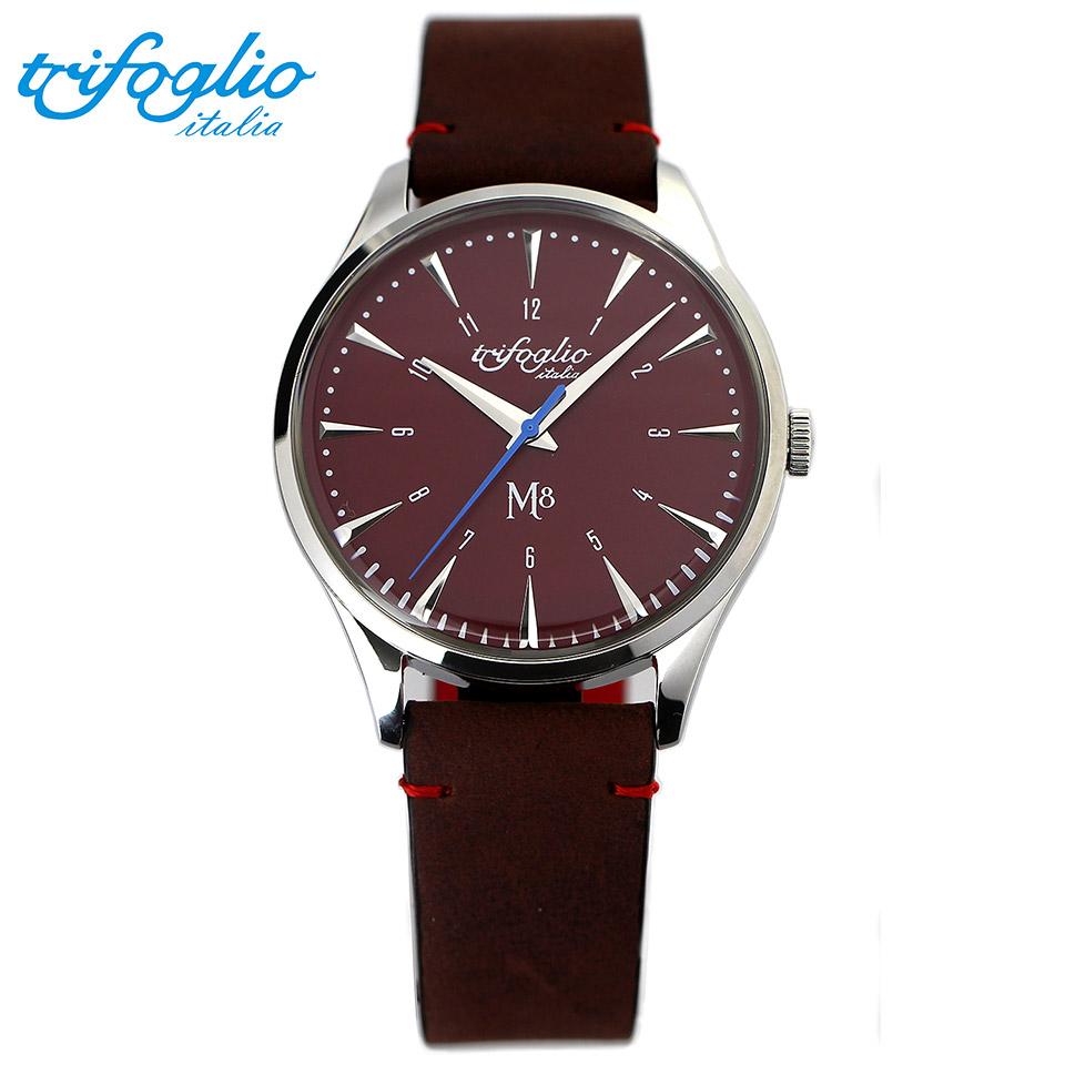 トリフォグリオ M8 (Trifoglio Italia) スイープセコンド レッド文字盤 ブラウンヌバックレザーベルト メンズ腕時計 イタリア時計 セイコーVH-31ムーブメント エムエイト