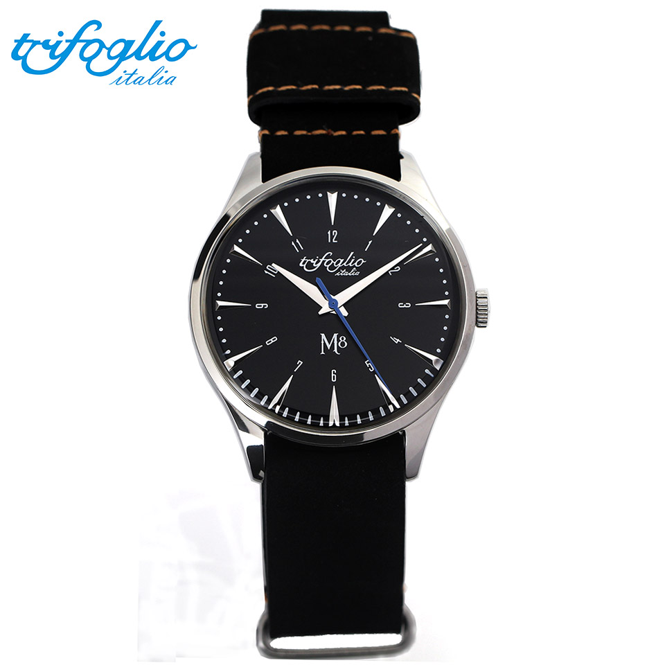 トリフォグリオ M8 (Trifoglio Italia) スイープセコンド 黒文字盤 黒ヌバックレザー NATOストラップ メンズ腕時計 イタリア時計 セイコーVH-31ムーブメント エムエイト
