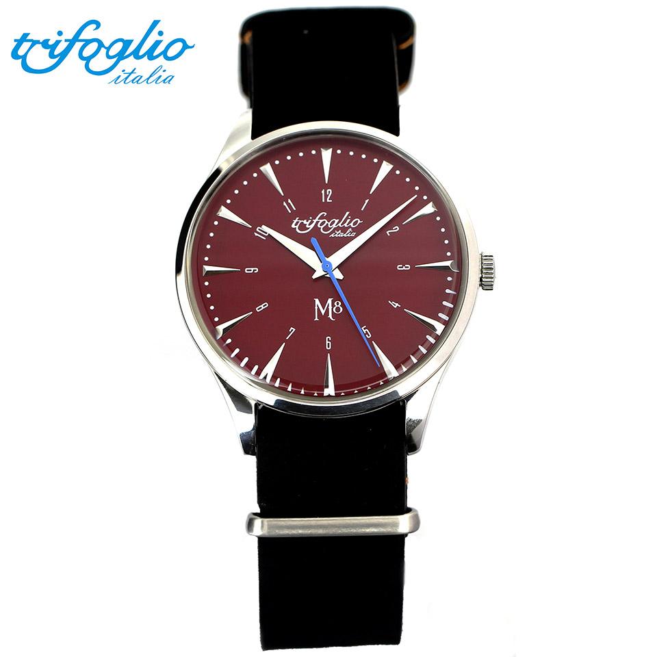 トリフォグリオ M8 (Trifoglio Italia) スイープセコンド 赤文字盤 黒ヌバックレザー NATOストラップ メンズ腕時計 イタリア時計 セイコーVH-31ムーブメント エムエイト