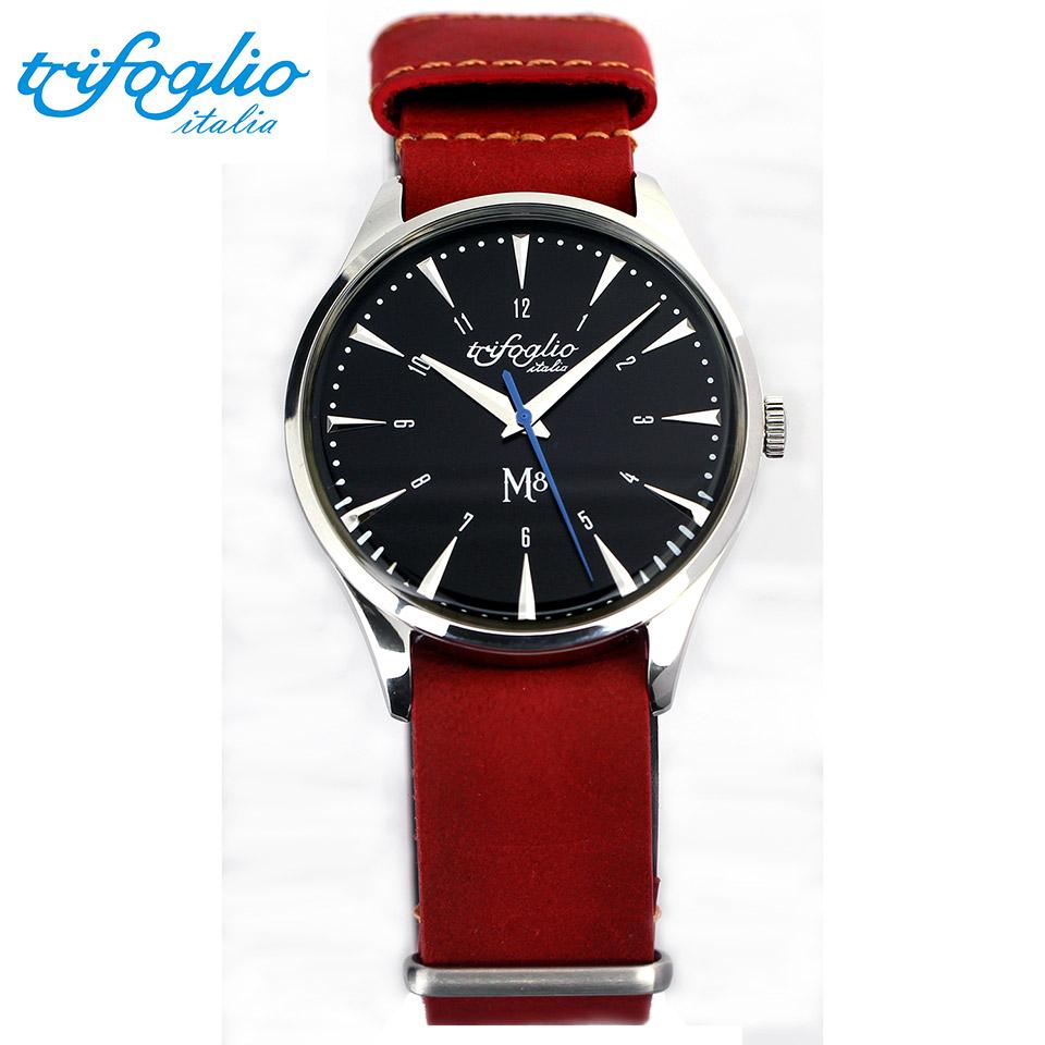 トリフォグリオ M8 (Trifoglio Italia) スイープセコンド ブラック文字盤 レッドヌバックレザー NATOストラップ メンズ腕時計 イタリア時計 セイコーVH-31ムーブメント エムエイト