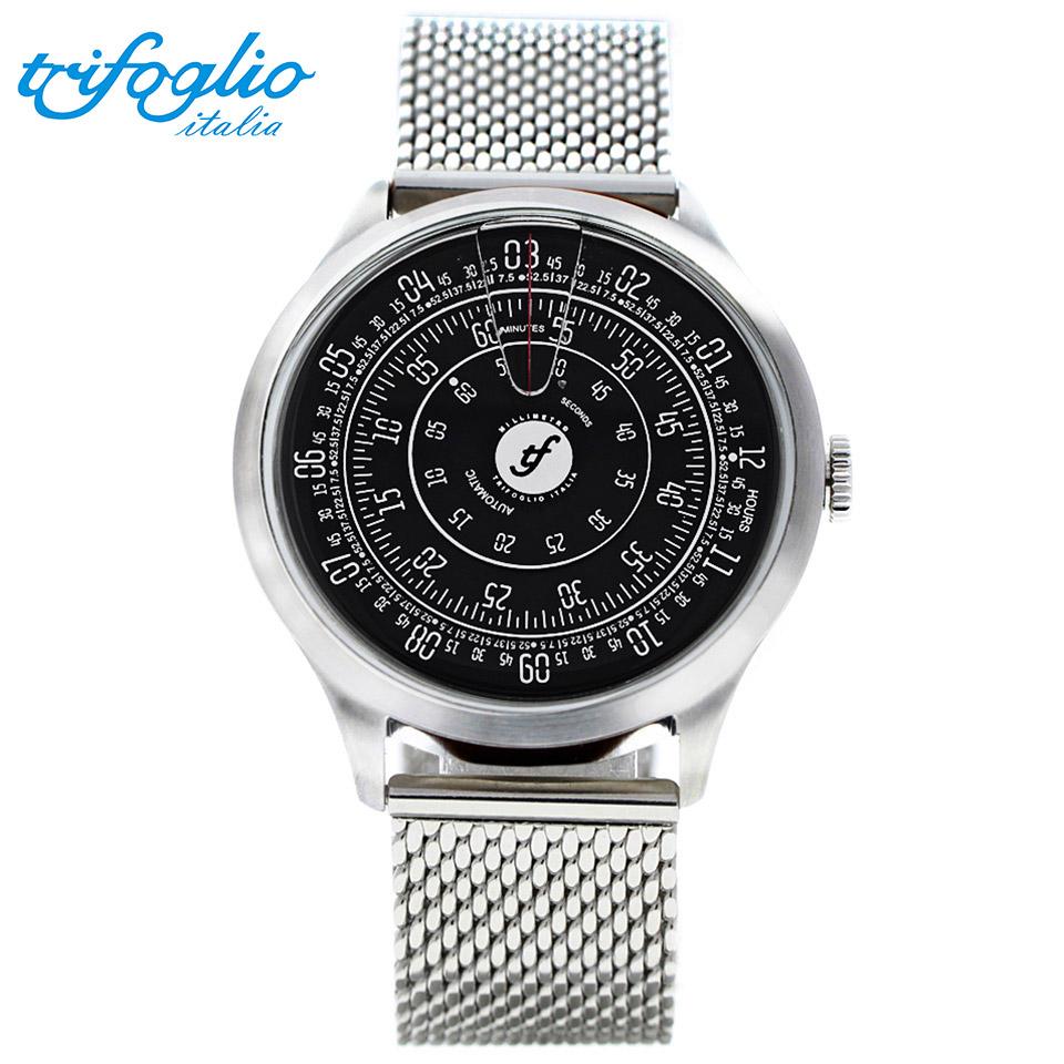 トリフォグリオ ミリメトロ (Trifoglio Italia) MILLIMETRO ML000SSBK 自動巻き 回転ディスクウォッチ 黒文字盤 メンズ腕時計 イタリア時計 ミラネーゼブレスレット ステンレスメッシュベルト