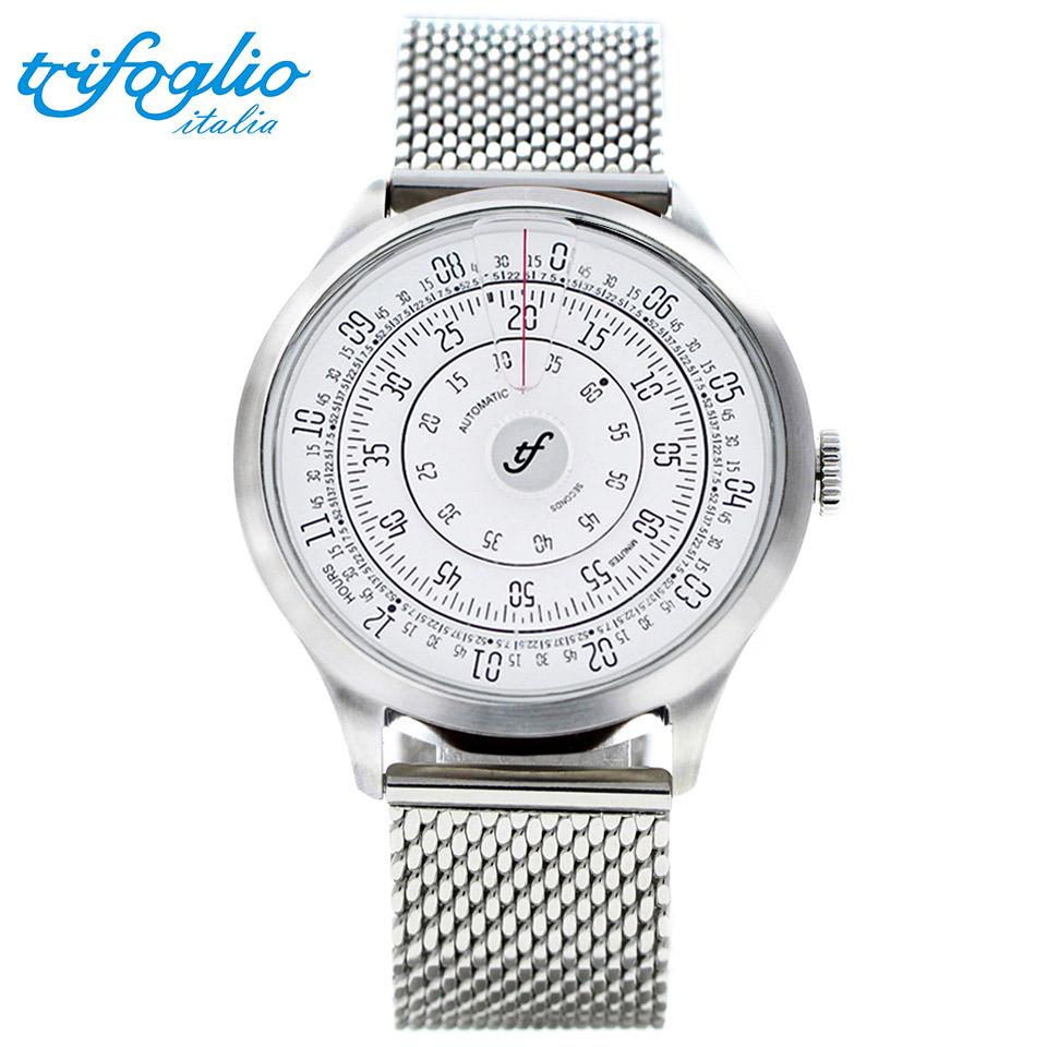 トリフォグリオ ミリメトロ (Trifoglio Italia) MILLIMETRO ML000SSWH 自動巻き 回転ディスクウォッチ 白文字盤 メンズ腕時計 イタリア時計 ミラネーゼブレスレット ステンレスメッシュベルト