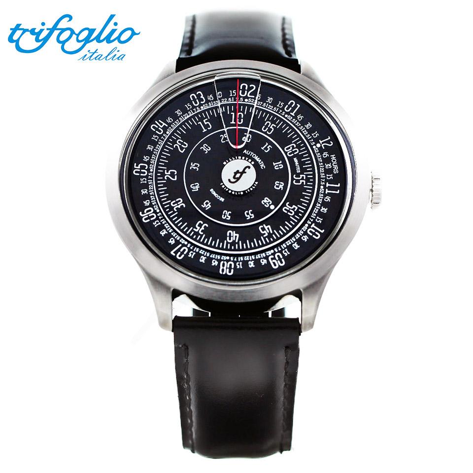 トリフォグリオ ミリメトロ (Trifoglio Italia) MILLIMETRO ML111SSBK 自動巻き 回転ディスクウォッチ 黒文字盤 メンズ腕時計 イタリア時計 ブラックレザーストラップ 計算尺 レトロ