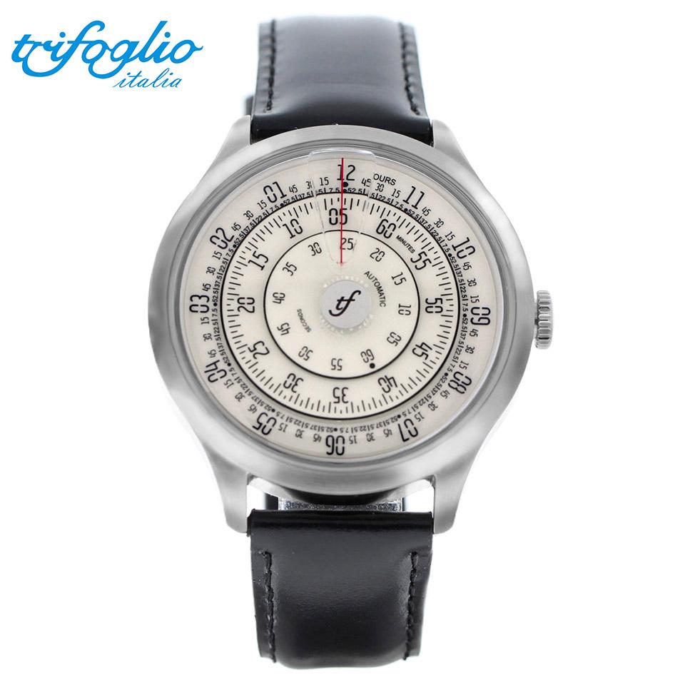 トリフォグリオ ミリメトロ (Trifoglio Italia) MILLIMETRO ML111SSVW 自動巻き 回転ディスクウォッチ アイボリー文字盤 メンズ腕時計 イタリア時計 ブラックレザーストラップ 計算尺 レトロ