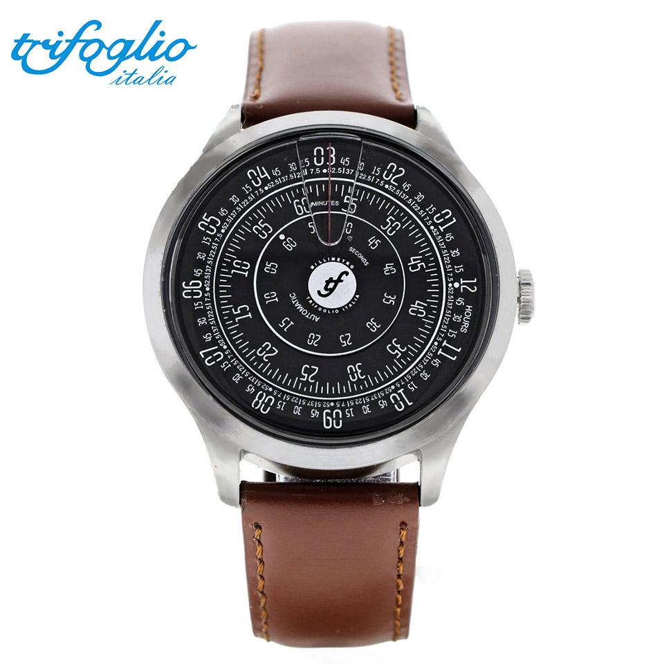 トリフォグリオ ミリメトロ (Trifoglio Italia) MILLIMETRO ML121SSBK 自動巻き 回転ディスクウォッチ 黒文字盤 メンズ腕時計 イタリア時計 ブラウンレザーストラップ 計算尺 レトロ