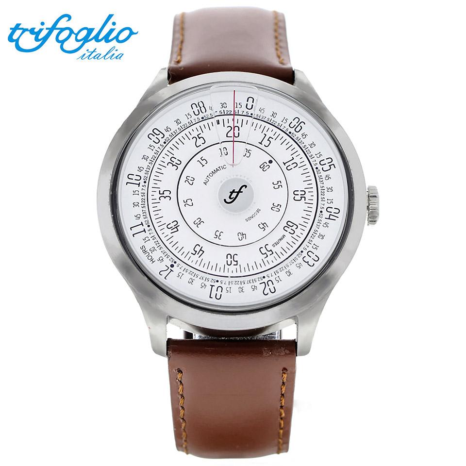 トリフォグリオ ミリメトロ (Trifoglio Italia) MILLIMETRO ML121SSWH 自動巻き 回転ディスクウォッチ 白文字盤 メンズ腕時計 イタリア時計 ブラウンレザーストラップ 計算尺 レトロ