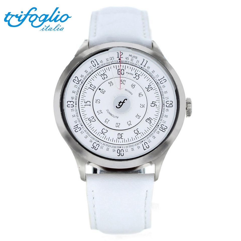 トリフォグリオ ミリメトロ (Trifoglio Italia) MILLIMETRO ML131SSWH 自動巻き 機械式腕時計 回転ディスク式 白文字盤 イタリア製 メンズウォッチ ホワイトレザーストラップ 計算尺 レトロ