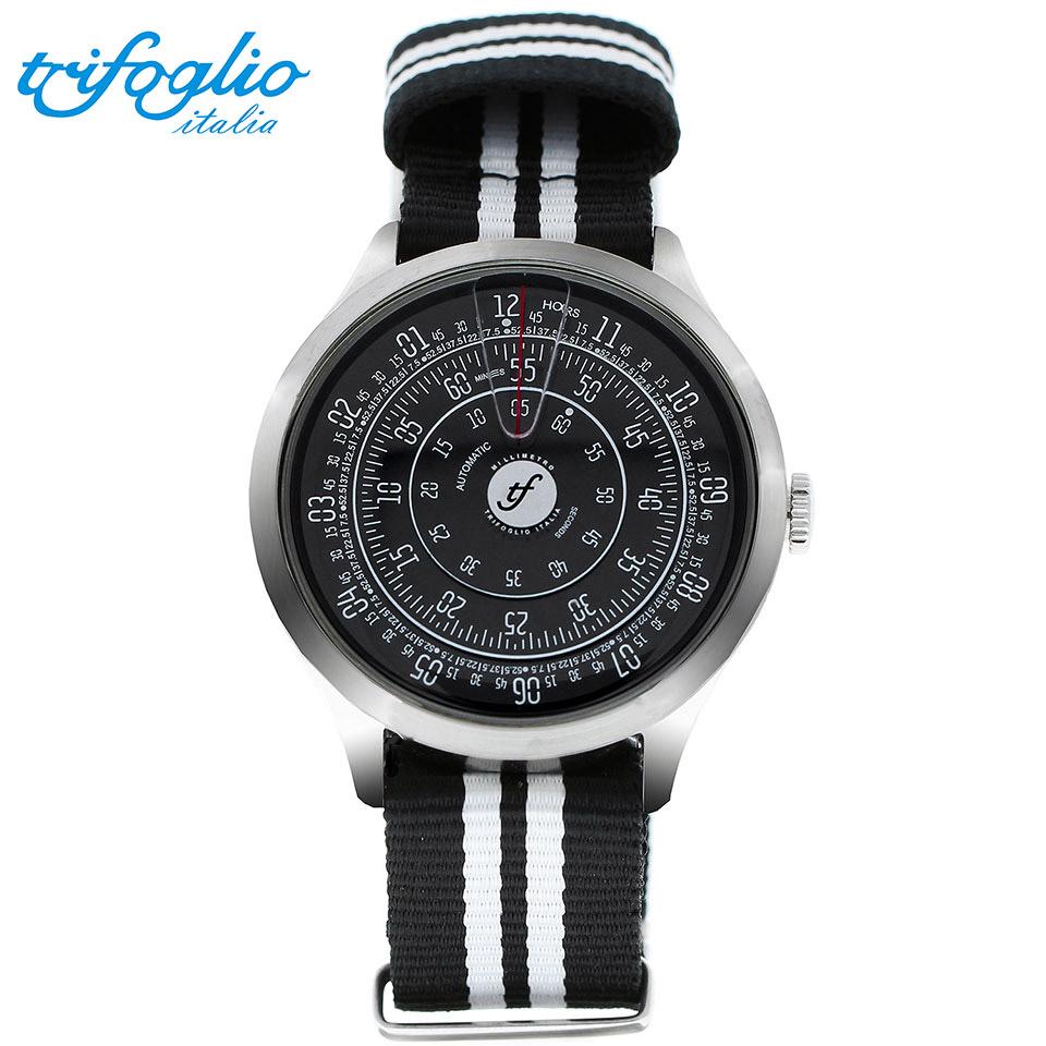 トリフォグリオ ミリメトロ (Trifoglio Italia) MILLIMETRO ML211SSBK 自動巻き 回転ディスクウォッチ 黒文字盤 メンズ腕時計 イタリア時計 黒白ナイロンストラップ NATOベルト