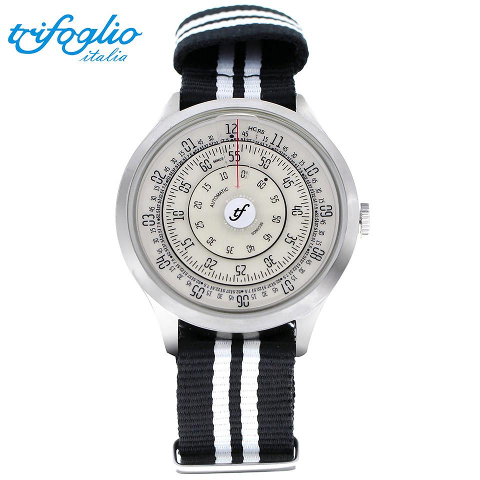 トリフォグリオ ミリメトロ (Trifoglio Italia) MILLIMETRO ML211SSVW 自動巻き 回転ディスクウォッチ アイボリー文字盤 メンズ腕時計 イタリア時計 黒白ナイロンストラップ NATOベルト