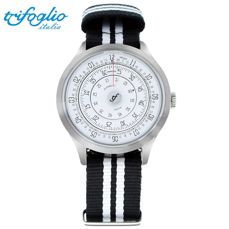 トリフォグリオ ミリメトロ (Trifoglio Italia) MILLIMETRO ML211SSWH 自動巻き 回転ディスクウォッチ 白文字盤 メンズ腕時計 イタリア時計 黒白ナイロンストラップ NATOベルト