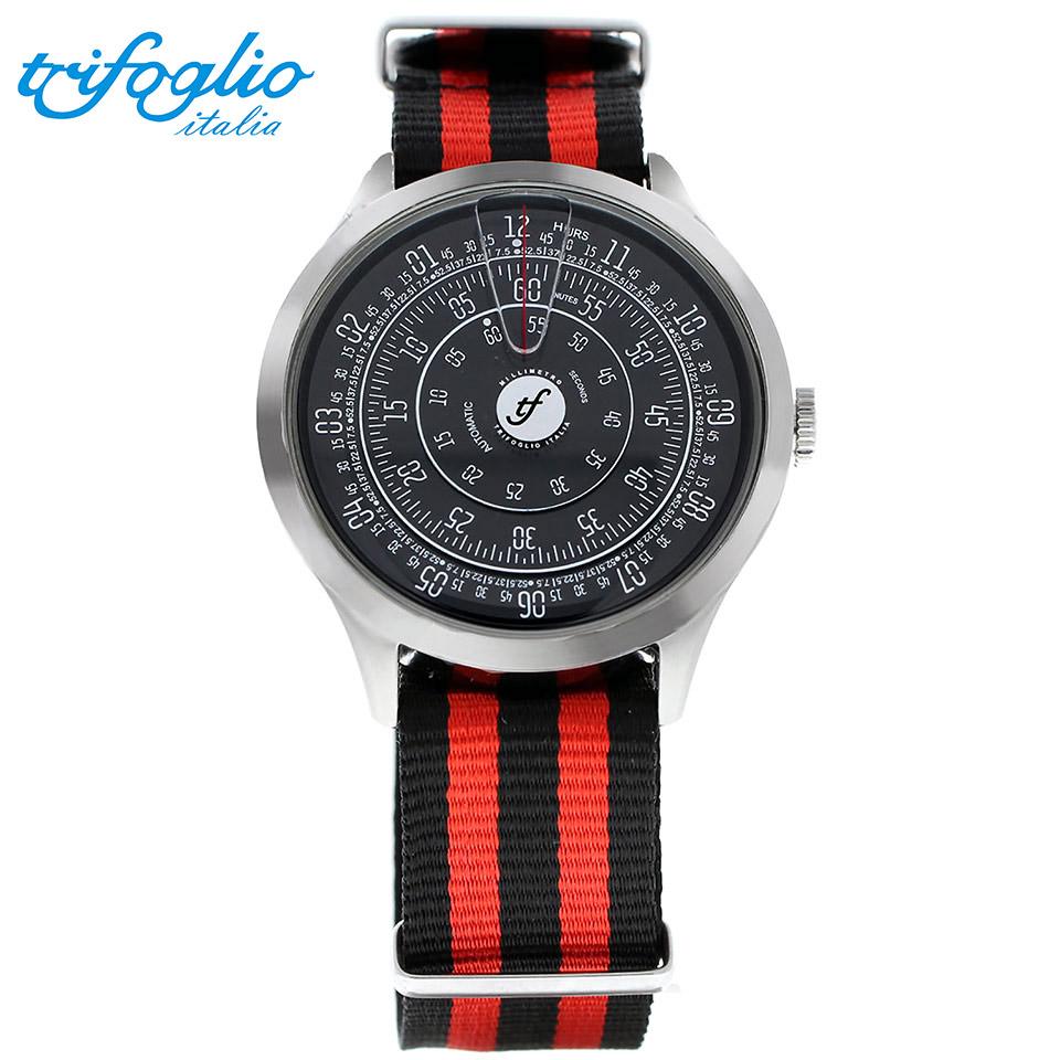 トリフォグリオ ミリメトロ (Trifoglio Italia) MILLIMETRO ML221SSBK 自動巻き 回転ディスクウォッチ 黒文字盤 メンズ腕時計 イタリア時計 黒赤ナイロンストラップ NATOベルト