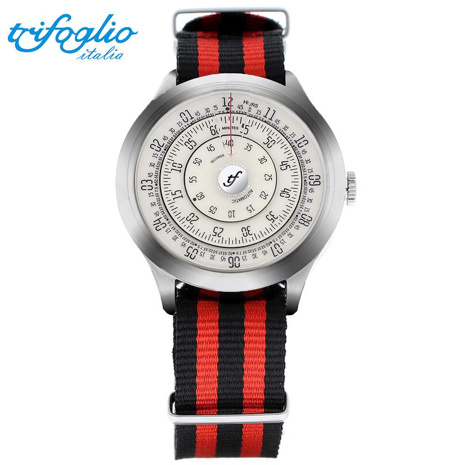 トリフォグリオ ミリメトロ (Trifoglio Italia) MILLIMETRO ML221SSVW 自動巻き 回転ディスクウォッチ アイボリー文字盤 メンズ腕時計 イタリア時計 黒赤ナイロンストラップ NATOベルト