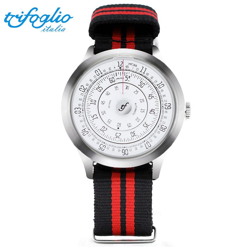 トリフォグリオ ミリメトロ (Trifoglio Italia) MILLIMETRO ML221SSWH 自動巻き 回転ディスクウォッチ 白文字盤 メンズ腕時計 イタリア時計 黒赤ナイロンストラップ NATOベルト