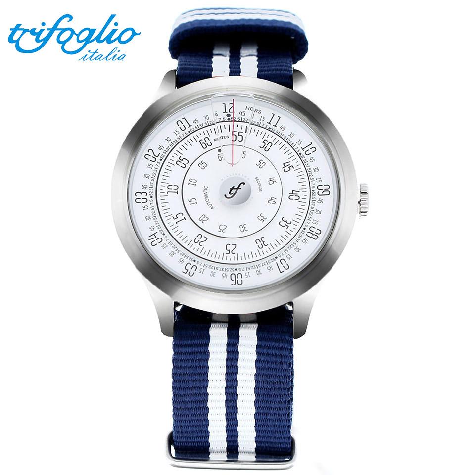 トリフォグリオ ミリメトロ (Trifoglio Italia) MILLIMETRO ML231SSWH 自動巻き 回転ディスクウォッチ 白文字盤 メンズ腕時計 イタリア時計 ネイビー/ホワイトナイロンストラップ NATOベルト