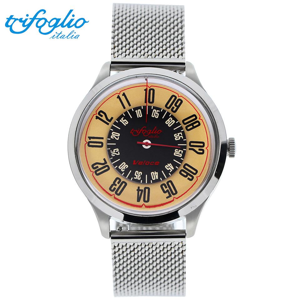 トリフォグリオ ヴェローチェ (Trifoglio Italia) VELOCE VL000SSBG 自動巻き 回転ディスク腕時計 メンズウォッチ イタリア製 ミラネーゼブレスレット ステンレスメッシュベルト