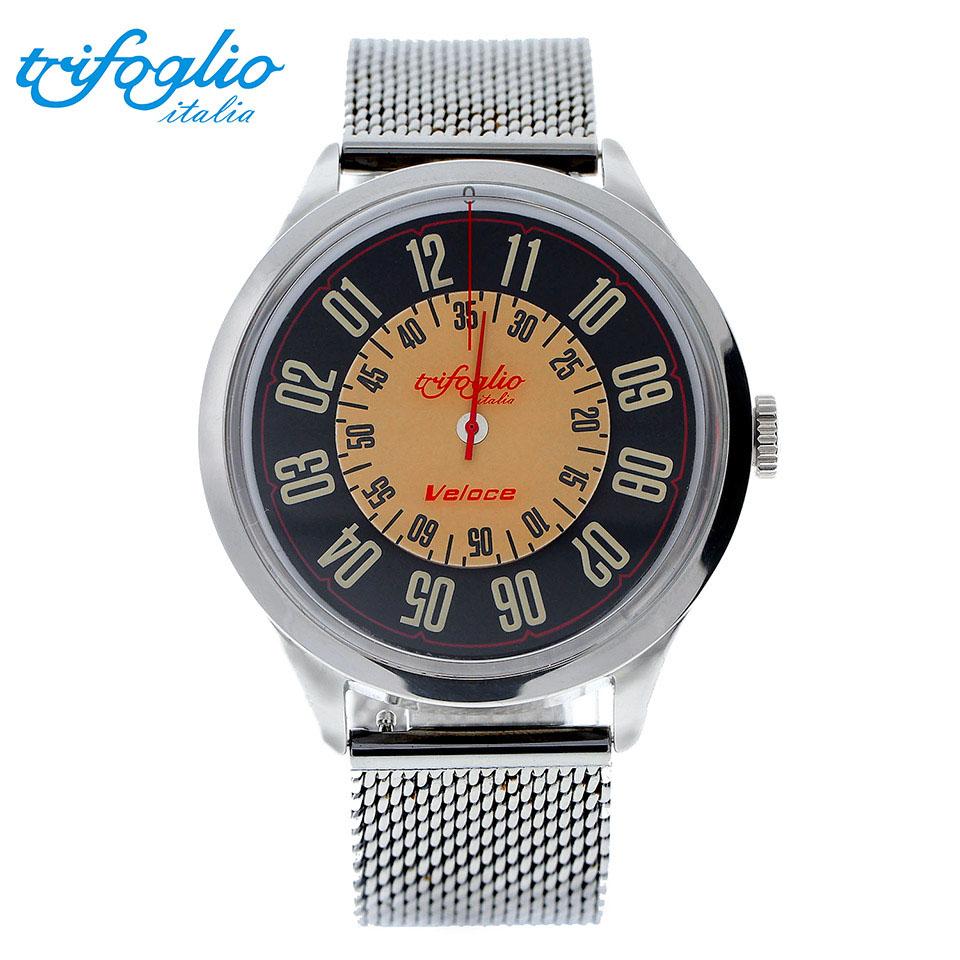 トリフォグリオ ヴェローチェ (Trifoglio Italia) VELOCE VL000SSBK 自動巻き 回転ディスクウォッチ メンズ腕時計 イタリア時計 ミラネーゼブレスレット ステンレスメッシュベルト