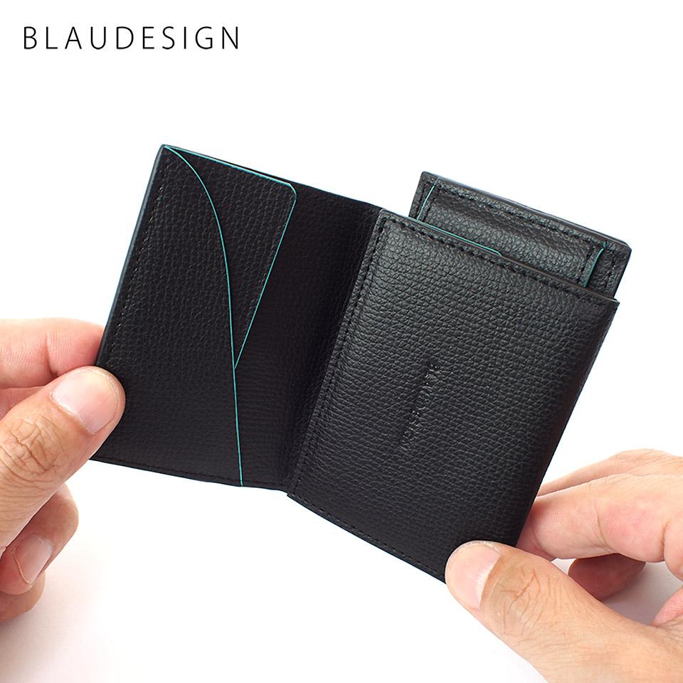 BLAUDESIGN Wallet Two in One ブラウデザイン 2in1ウォレット ブラック イタリアンレザー 着脱式カードケース&コインケース 世界最小クラス 小型財布 小さいサイフ キャッシュレス