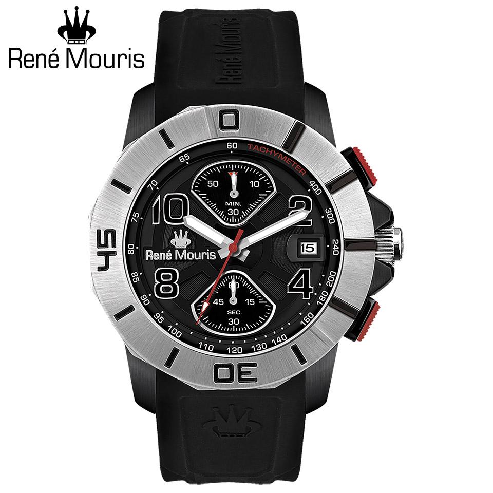 ルネモーリス インフィニート Rene Mouris Infinite 90121RM1 クロノグラフ メンズ腕時計 黒文字盤 ブラックケース スティールベゼル