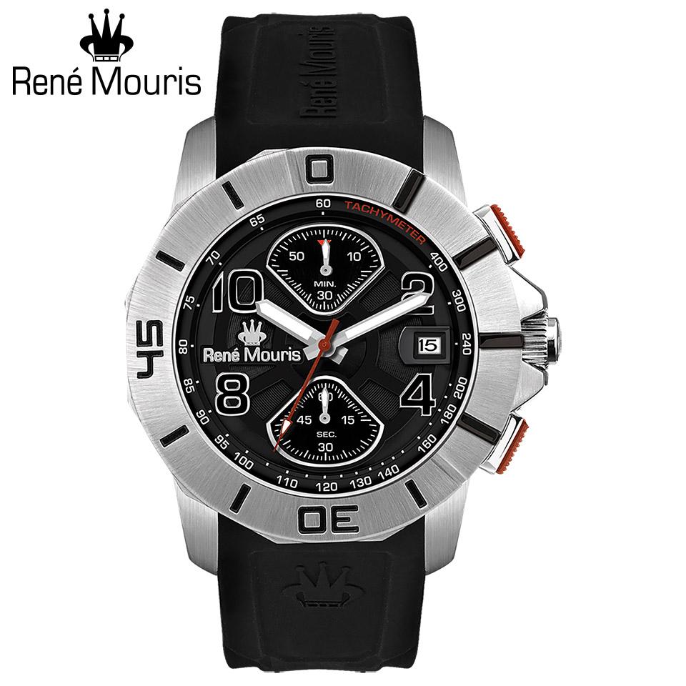 ルネモーリス インフィニート Rene Mouris Infinite 90121RM2 クロノグラフ メンズ腕時計 黒文字盤 スティールケース&ベゼル