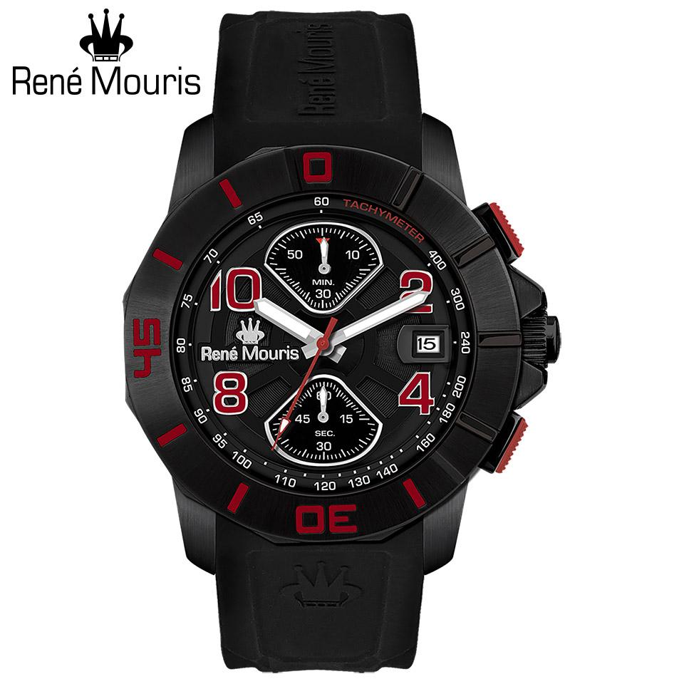 ルネモーリス インフィニート Rene Mouris Infinite 90121RM3 クロノグラフ メンズ腕時計 黒文字盤 ブラックケース&ベゼル