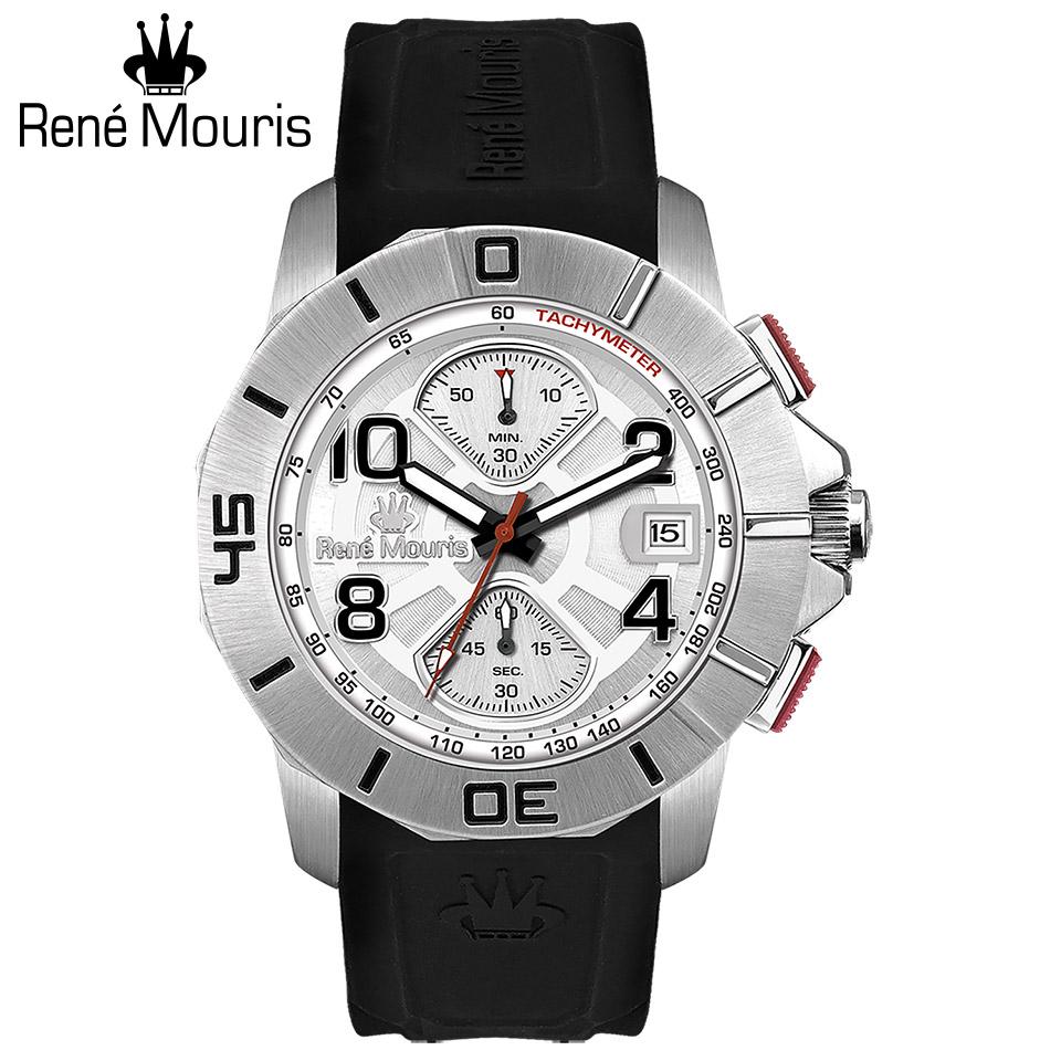 ルネモーリス インフィニート Rene Mouris Infinite 90121RM4 クロノグラフ メンズ腕時計 白文字盤 スティールケース&ベゼル