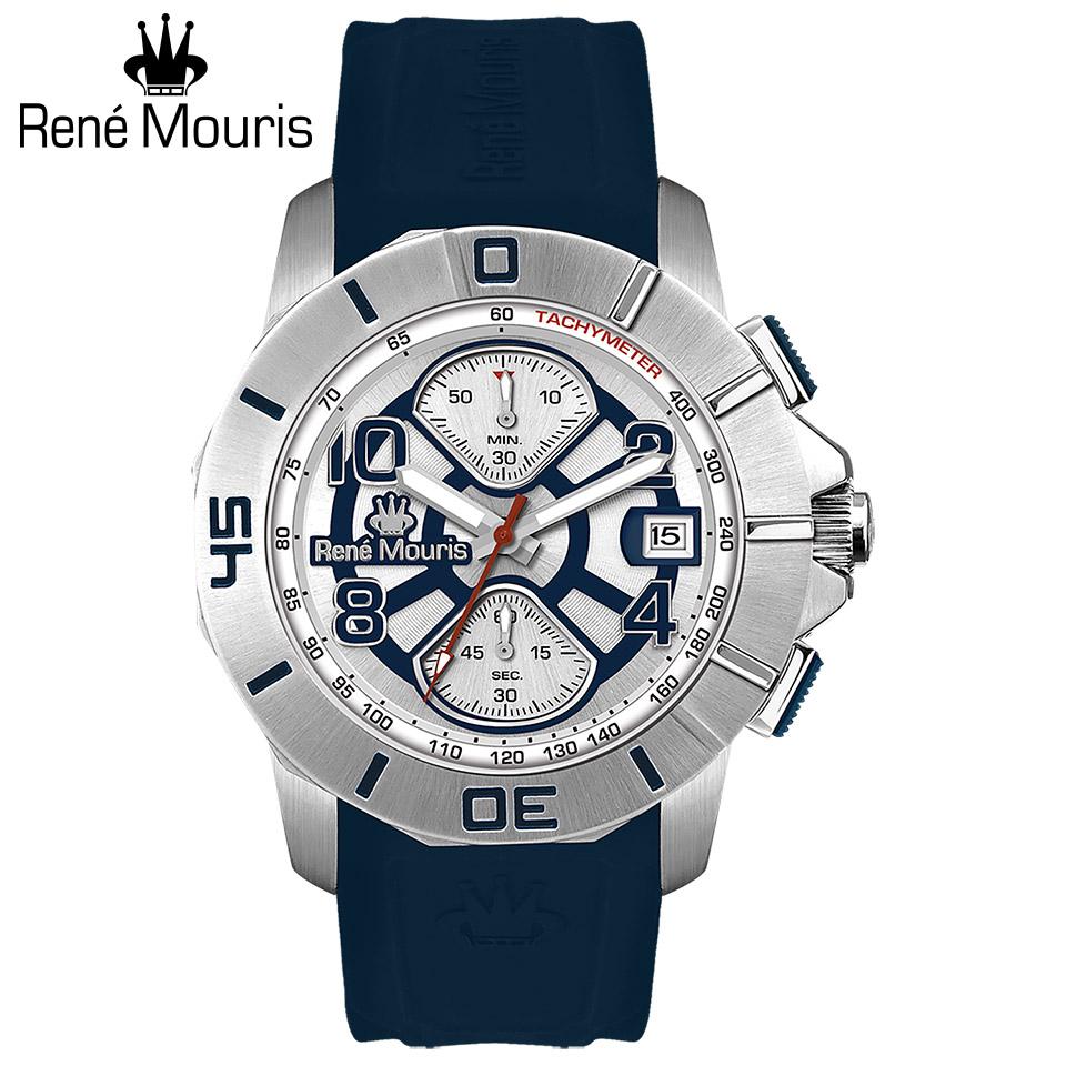 ルネモーリス インフィニート Rene Mouris Infinite 90121RM5 クロノグラフ メンズ腕時計 ネイビー文字盤 スティールケース&ベゼル ネイビーストラップ