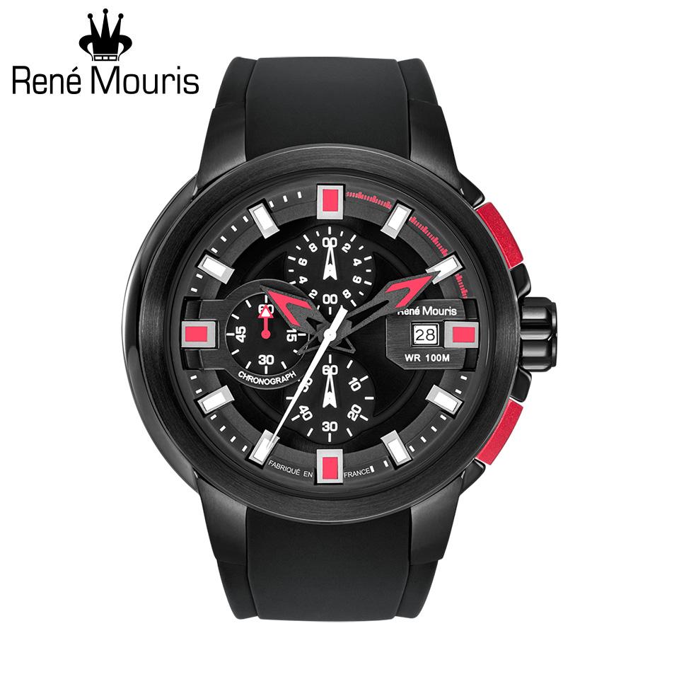 ルネモーリス プロウラー Rene Mouris Prowler 90123RM3 1/10秒クロノグラフ メンズ腕時計 ブラック/レッド シリコンストラップ フランス時計 スポーツファッション