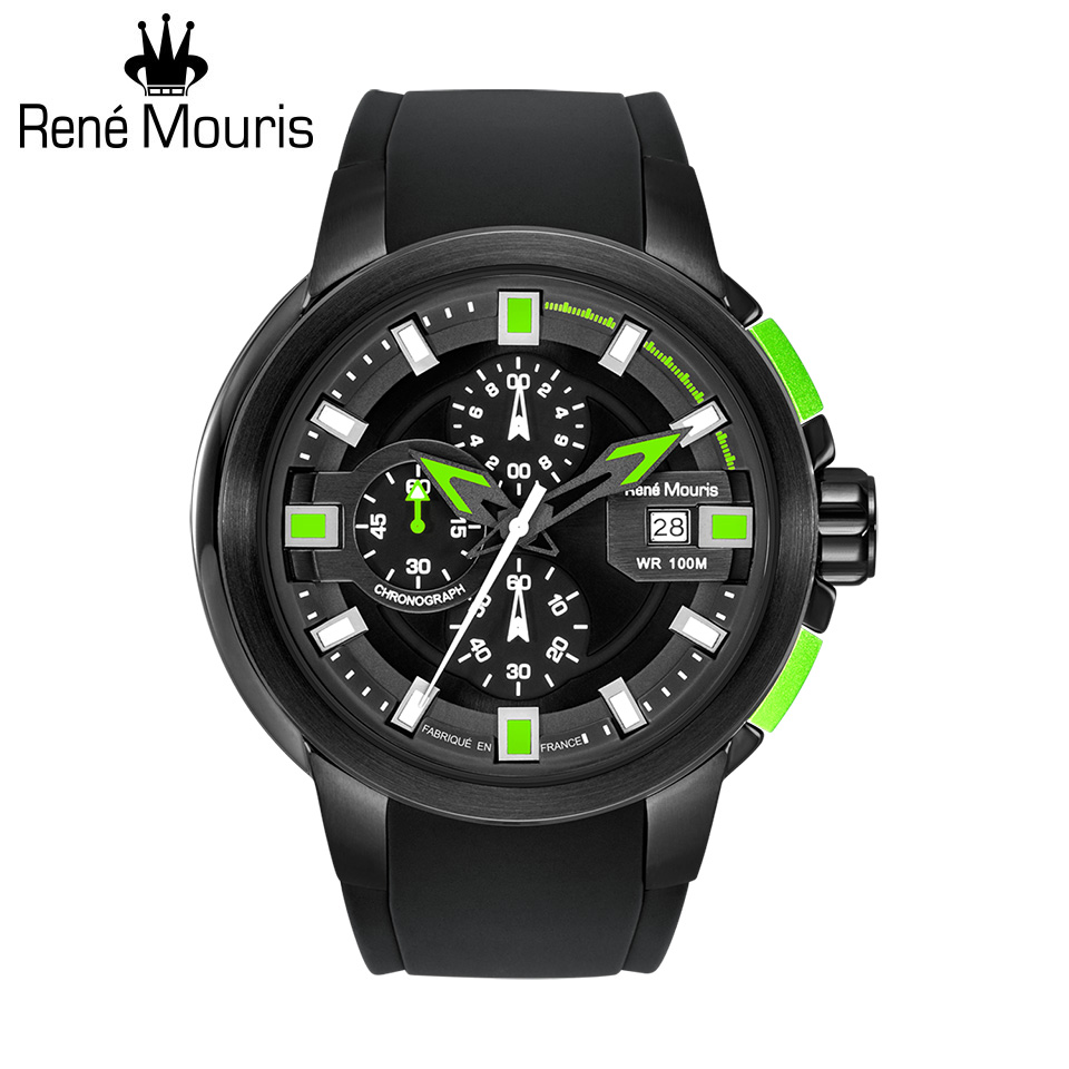 ルネモーリス プロウラー Rene Mouris Prowler 90123RM4 1/10秒クロノグラフ メンズ腕時計 ブラック/グリーン シリコンストラップ フランス時計 スポーツファッション