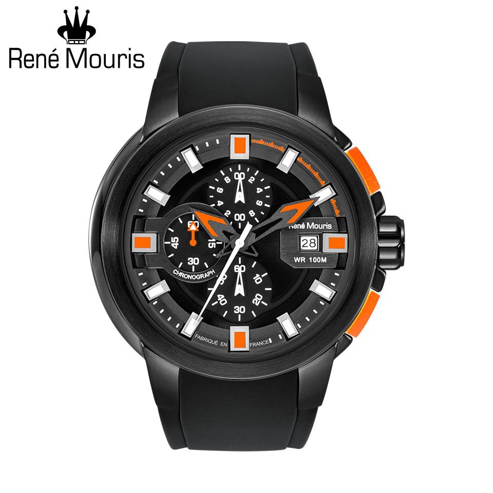 ルネモーリス プロウラー Rene Mouris Prowler 90123RM5 1/10秒クロノグラフ メンズ腕時計 ブラック/オレンジ シリコンストラップ フランス時計 スポーツファッション