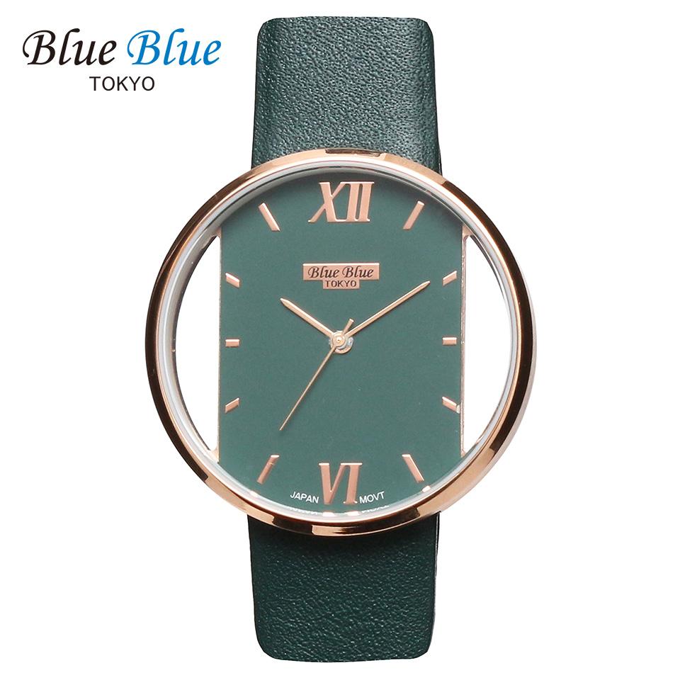 ブルーブルートウキョウ レディース腕時計 BlueBlue TOKYO BR36 グリーン/ローズゴールド ミニマルデザイン ファッションウォッチ ユニセックス 東京ブランド 緑