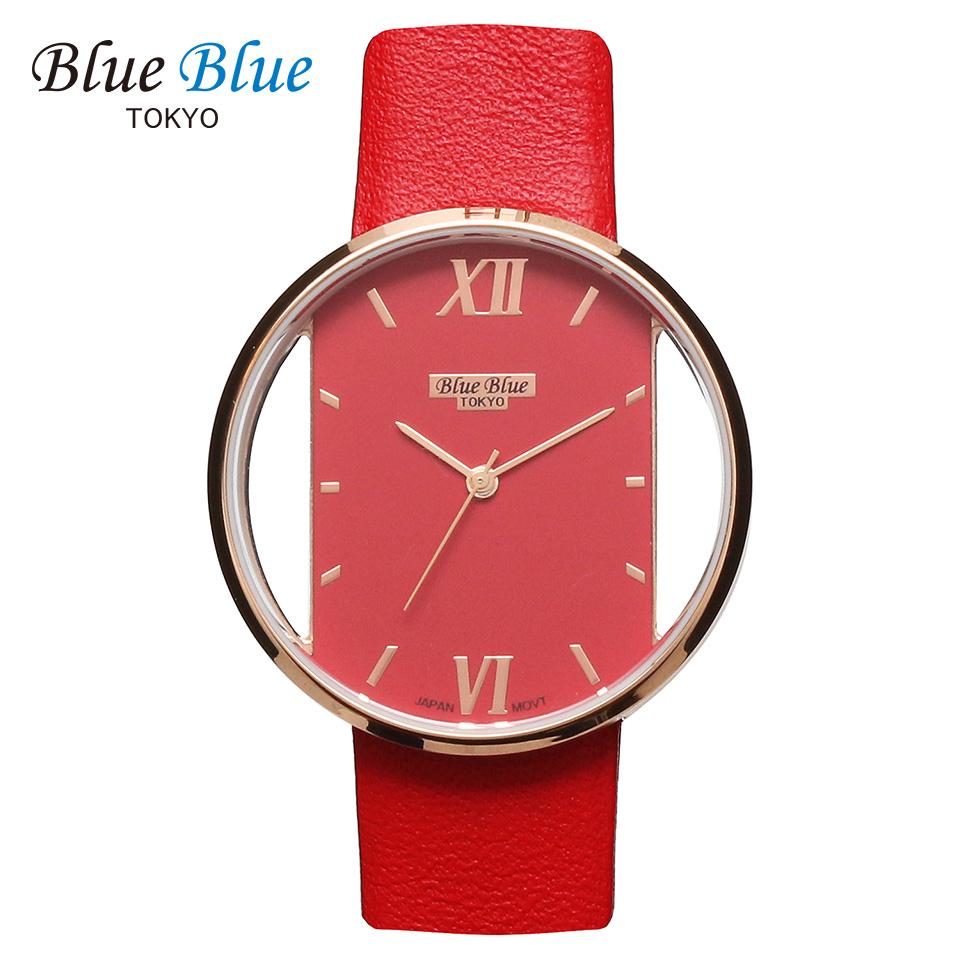 ブルーブルートウキョウ レディース腕時計 BlueBlue TOKYO BR36 レッド/ローズゴールド ミニマルデザイン ファッションウォッチ ユニセックス 東京ブランド 赤